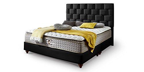 Boxspringbett 160x200 Schwarz Zürich Hotelbett Doppelbett Matratze Topper Modern Luxus Bett (160x200cm, Schwarz)