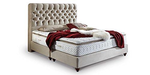 Boxspringbett 180x200 Beige Vegas Hotelbett Doppelbett Matratze Topper Modern Luxus Bett (180x200cm, Beige)