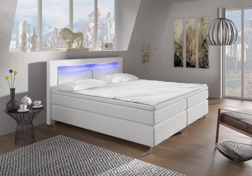Boxspringbett mit LED Beleuchtung und Chromleisten Hotelbett Doppelbett Polsterbett Ehebett amerikanisches Bett Chrom Modell BRÜSSEL Typ 1 (160x200)