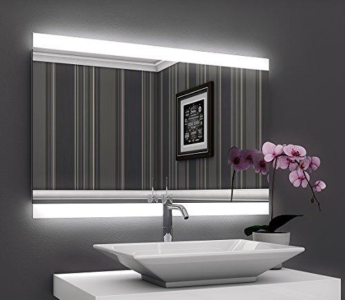 Bricode Süd Badezimmerspiegel Persis II (A) in verschiedenen Größen. Badspiegel mit LED Beleuchtung (warmweiß, 50cm x 75cm (bxh))