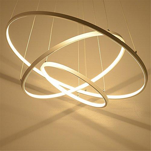 CAC Moderne Pendelleuchten für Wohnzimmer Esszimmer 3/2/1 Kreis Ringe Acryl Aluminium LED-Beleuchtung Decke Lampen,3 Ringe ø60+40+20cm, Warmweiß