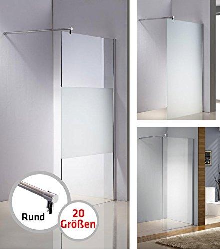 CLP Edelstahl-Duschabtrennung, NANO Glas, Haltestange: RUND (bis zu 3 Glasfarben und 20 Größen wählbar) halbmilchglas, 110x200x100