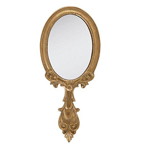 Clayre & Eef 62S037 Spiegel Handspiegel Kosmetikspiegel goldfarbig ca. 10 x 24 cm