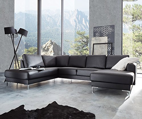couch silas schwarz 300 200 cm ottomane links designer wohnlandschaft m bel24. Black Bedroom Furniture Sets. Home Design Ideas