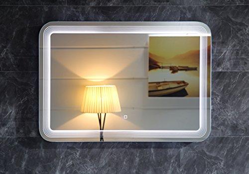 Design LED-Beleuchtung Badspiegel GS086 Lichtspiegel Wandspiegel mit Touch-Schalter 80x60cm Tageslichtweiß IP44