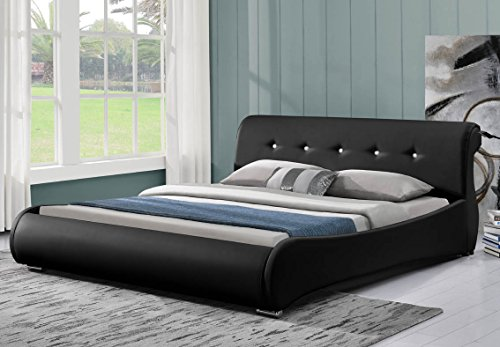 doppelbett polsterbett bettgestell bett lattenrost kunstleder 180x200 schwarz m bel24. Black Bedroom Furniture Sets. Home Design Ideas