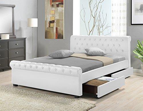 doppelbett polsterbett bettgestell bett lattenrost kunstleder wei 140x200cm m bel24. Black Bedroom Furniture Sets. Home Design Ideas