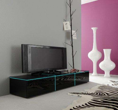 Dreams4Home Lowboard Square TV Schrank Phonomöbel weiß o schwarz hochglanz opt LED-RGB-Beleuchtung, Beleuchtung:ohne Beleuchtung;Farbe:Schwarz