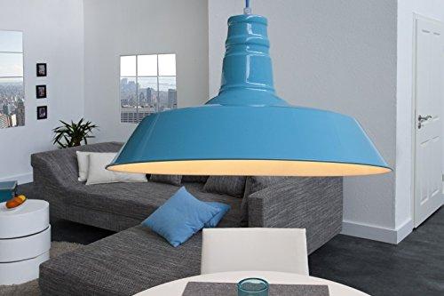 DuNord Design Hängelampe Hängeleuchte INDUSTRIAL hell blau 45 cm