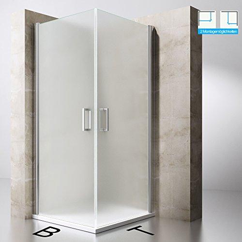 Duschabtrennung Duschkabine Ravenna22S aus ESG-Sicherheitsglas in Milchglas und NANO-Beschichtung, Drehtür, BTH: 90x90x190cm, Duschwand