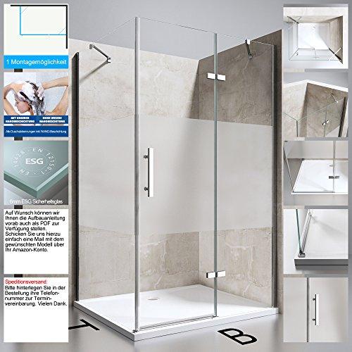 Duschabtrennung Duschkabine Ravenna28MS in Klarglas mit Milchglas Streifen, TBH: 90x120x195 cm, ESG Sicherheitsglas, Duschwand