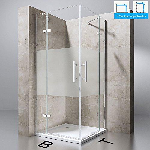Duschabtrennung Duschkabine Ravenna30MS in Klarglas mit Milchglas Streifen, ESG-Sicherheitsglas, BTH: 120x90x195cm, Eckeinstieg, Duschwand
