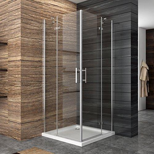 Dusche Duschkabine Duschabtrennung 90x90cm Eckeisntieg mit Duschtasse Duschtür Eckdusche Duschwand aus Sicherheitsglas