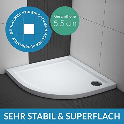 Duschwanne AQUABAD® Comfort Villa Flat 90x90cm Superflach Viertelkreis R55