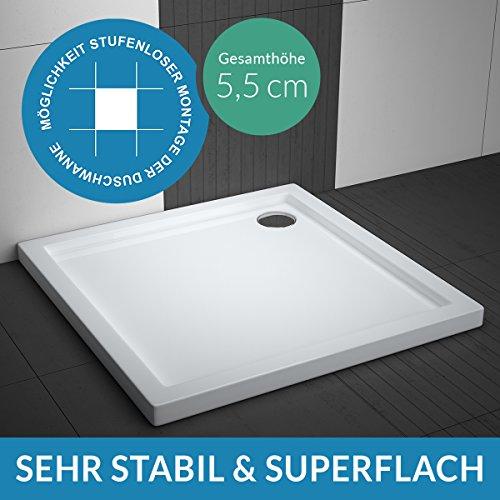 Duschwanne AQUABAD TRAPFLEX® Comfort Villa Flat 90x90cm Superflach Quadrat