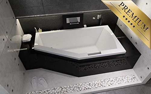 EXCLUSIVE LINE® Riho Geta eckbadewanne 170x90 cm Links - Füßen, Ablaufgarnitur, Silikon GRATIS