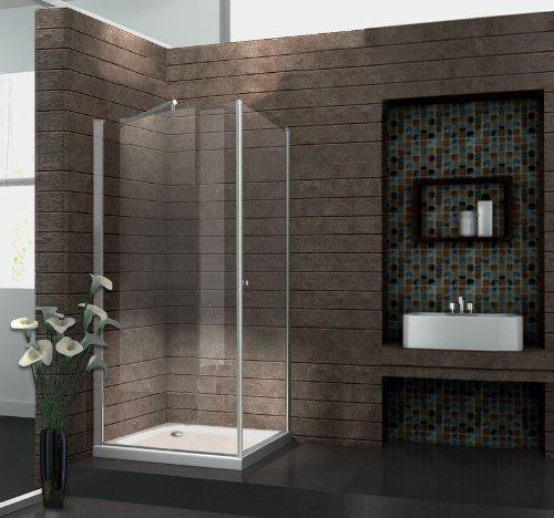 Echt Glas 8 mm Duschkabine Duschabtrennung Dusche Rahmenlos 90 x 90 x 190 cm SPA-FIX ohne Duschtasse