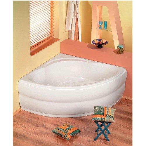 Eckbadewanne ALEXANDRA 140x140x42cm, Acryl in weiß, komplett mit Schürze, Wannenfüssen und Ablaufgarnitur