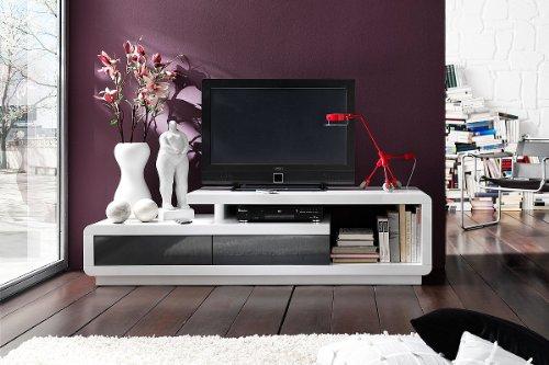 Elegantes TV Lowboard SPRING hochglanz weiss anthrazit 170cm