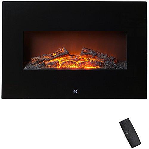 Elektrischer Wandkamin mit Fernbedienung 1800W Wandmontage 2 Heizstufen Überhitzungsschutz LED Flammeneffekt sicher und sauber