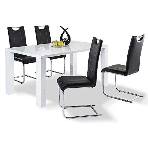 Essgruppe in Weiß Hochglanz mit 4 Stühlen (5-teilig) Pharao24