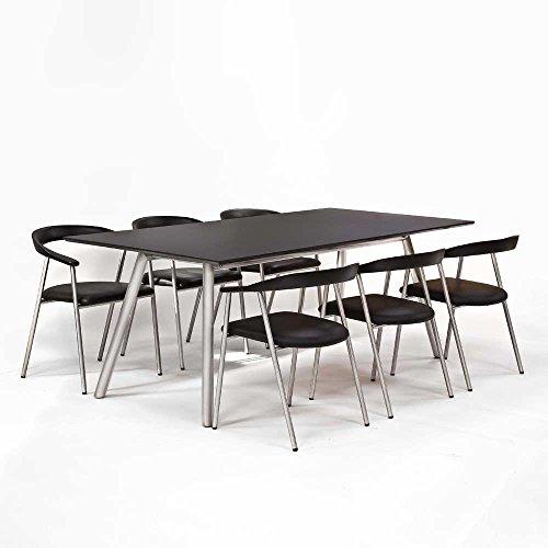 Esstisch mit Stühlen in Schwarz Silber Echtleder Edelstahl (7-teilig) Pharao24