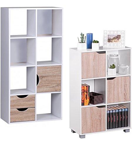 FineBuy Design Bücherregal Modern Holz Weiß mit Türen geschlossen Sonoma Eiche Standregal freistehend 6 Fächer 60 cm Breit x 90 cm Hoch x 30 cm Tief Freistehend Büroregal klein Holzregal zum stellen