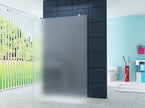 Freistehende 10 mm Duschabtrennung Düsseldorf - Milchglas, Frost 90 x 200 cm Eckiger Haltestange / Walk-In Duschtrennwand Duschwand Dusche ESG Sicherheitsglas