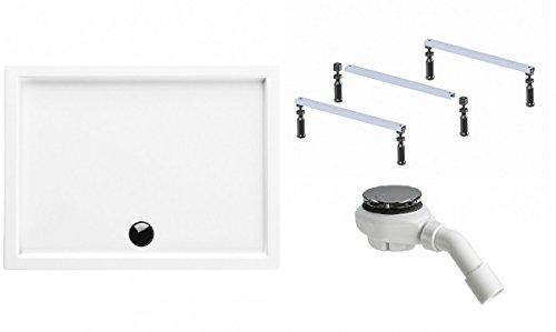 Galdem Duschwannen Set Rica, 120x80x5,5 cm, hochwertiges Duschen komplett SET mit einer flachen Rechteck Acryl Design Duschwanne, Duschwannenfuß Ablaufgarnitur