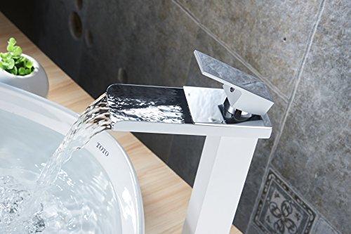 Greenspring® Elegant Wasserhahn Armatur Einhebel- Mischbatterie Waschtischarmatur Wasserfall Einhandmischer Gegrillte weiße Farbe für Bad Badenzimmer Waschbecken(Hoch)