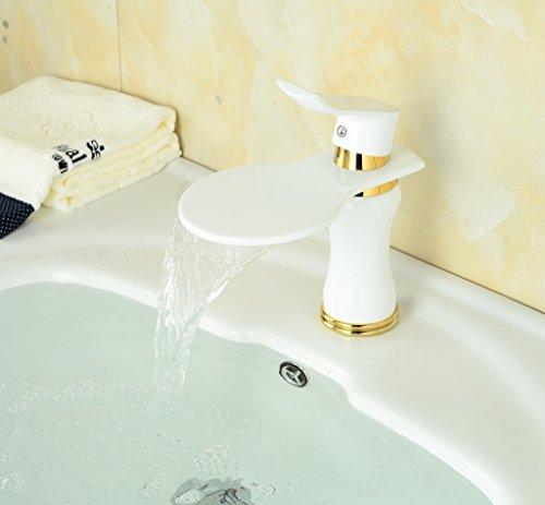 Greenspring® Weiß Design Bad Waschtisch-Armatur Wasserhahn Waschtischarmaturen Badezimmerarmaturen