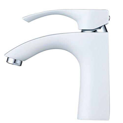 Hiendure® Messing Elegantes Design Wasserhahn Bad Luxuriöse WC Waschtisch Armaturen Bad Heiß-kalt Konvertierungen Weiße & Chrom