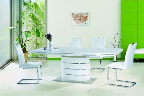 Hochglanz Esstisch Fano 90x160x75 ausziehbar auf 220cm Säulentisch