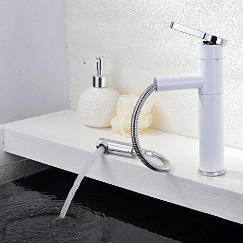 Homelody® Weiß Armatur mit herausziehbarem Brausekopf Wasserhahn Bad Waschbecken Einhebelmischer Mischbatterie