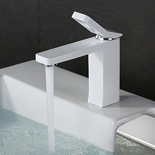 Homelody Weiss Lack Einhebelmischer Wasserhahn bad Armaturen Waschtisch Waschbecken Armatur Mischbatterie Badarmatur Waschtischarmatur Waschbeckenarmatur  Armatur für Badezimmer