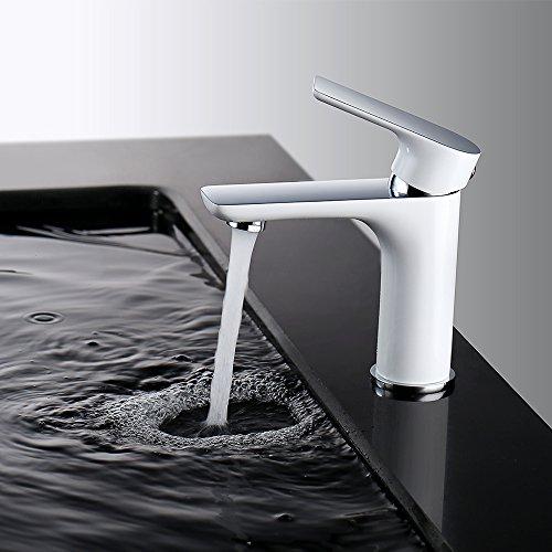 Homelody Weiss Chrom Wasserhahn Bad Waschbecken Armatur Mischbatterie Einhebelmischer Waschtischarmatur Badarmatur