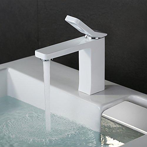Homelody® weiß Wasserhahn Badarmatur Waschbecken Armatur Waschtisch Waschtischarmatur Waschbeckenarmatur Einhebelmischer