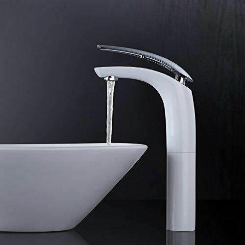 Homelody®Wasserhahn Weiß Waschtischarmatur Einhebel Mischbatterie Waschbeckenarmatur Badarmatur für Waschbecken Waschtisch Bad Armatur