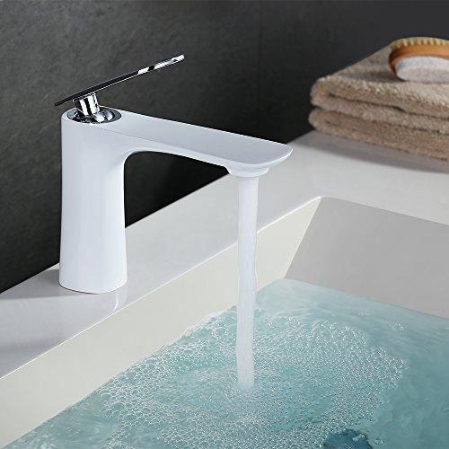 Homelody®Weiß Wasserhahn mit Lack beschichtet Waschtischarmatur Einhebel Mischbatterie Waschtishbatterie Armatur Waschtischmischer für Waschtisch Waschbecken Bad