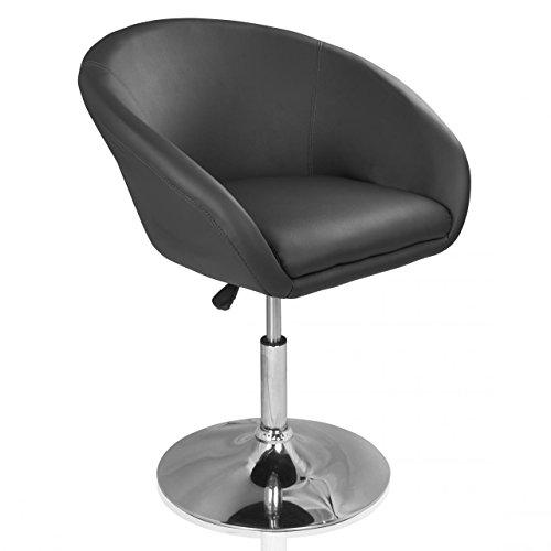 Homelux Lounge-Sessel Clubsessel Kunstleder Höhenverstellbar Grau Polstersessel Drehsessel Barhocker Drehstuhl Barstuhl Retrosessel Cocktailsessel