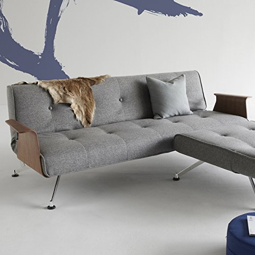 innovation schlafsofa mit chrombeinen und armlehnen clubber textil grau m bel24. Black Bedroom Furniture Sets. Home Design Ideas