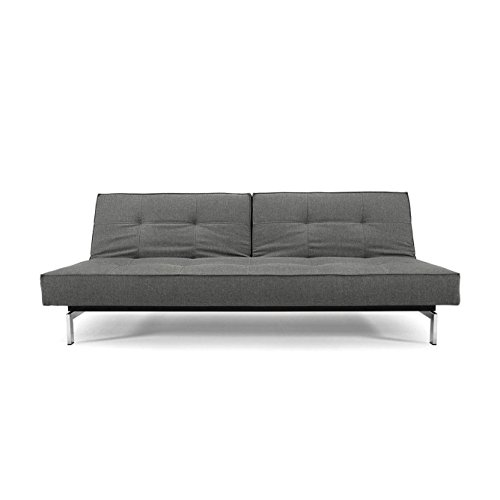 Innovation Splitback Schlafsofa, grau Stoff 216 Flashtex Dark Grey Gestell Chrom