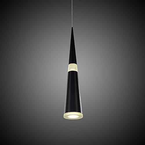 JDONG Futuristische LED Hängeleuchte Pendelleuchte 12W Kegel Modern mattschwarz Deckenleuchte Deckenlampe Wohnzimmer Küche Schlafzimmer (schwarz)