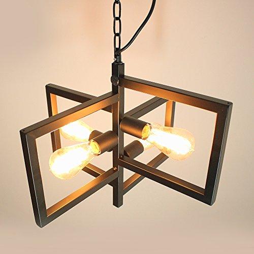 JDONG Hängeleuchte Pendelleuchte im Art Deco Stil 4×E27 klassisch-modern mit Kette Wohnzimmer Deckenleuchte Deckenlampe (schwarz)