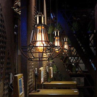 JJ Moderne LED-Deckenleuchten Vintage Retro Country Single Head Eisen Pendelleuchte Lampe Beleuchtung für Wohnzimmer Schlafzimmer Bar Cafe , (220V-240V) -schwarz
