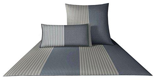 JOOP! Bettwäsche Double Stripes 4054 Fb. 9 - Silber Größe: 135 x 200 cm