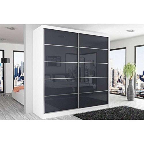 JUSThome Beauty IX Schwebetürenschrank Kleiderschrank Garderobenschrank 218x200x60 cm Farbe: Weiß Matt / Schwarz Hochglanz