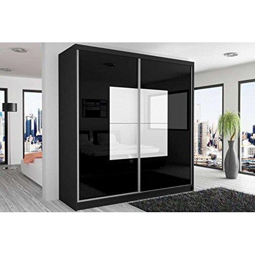 JUSThome Beauty Schwebetürenschrank Kleiderschrank Garderobenschrank 218x200x60 cm Farbe: Schwarz Matt / Schwarz Weiß Hochglanz