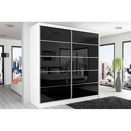 JUSThome Beauty VI Schwebetürenschrank Kleiderschrank Garderobenschrank 218x200x60 cm Farbe: Weiß Matt / Schwarz Hochglanz