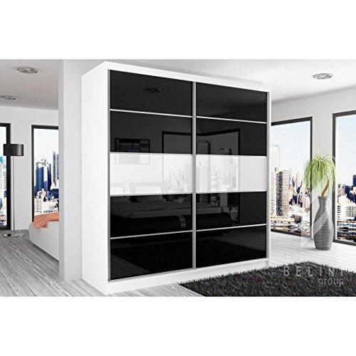JUSThome Beauty VIII Schwebetürenschrank Kleiderschrank Garderobenschrank 218x200x60 cm Farbe: Weiß Matt / Schwarz Weiß Hochglanz